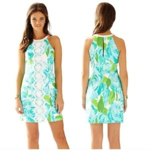 Lilly Pulitzer Blue Pearl Shift Dress Lace 00 $198